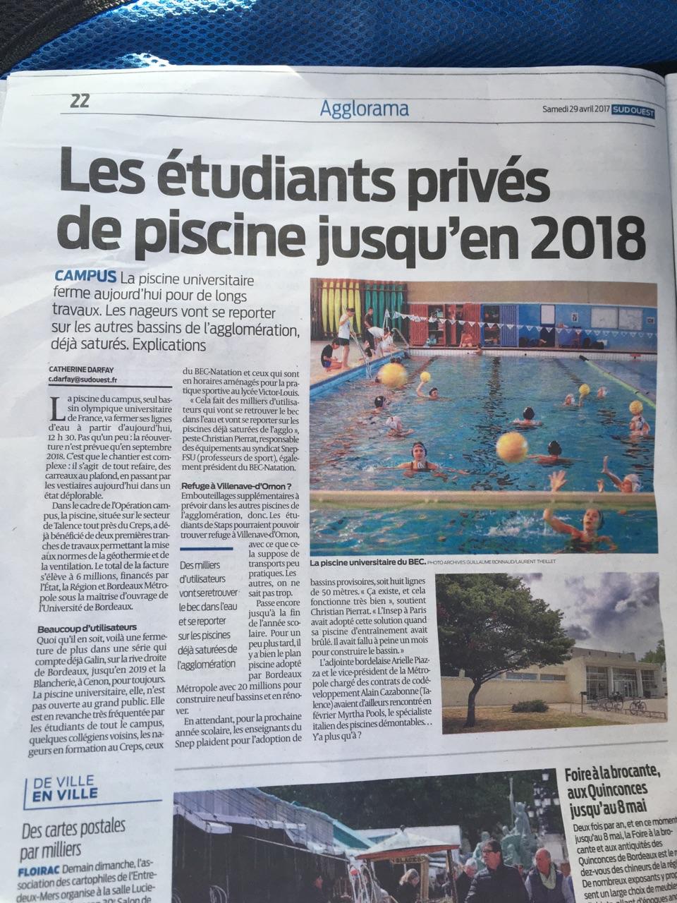 Equipements snep fsu bordeaux for Piscine universitaire talence